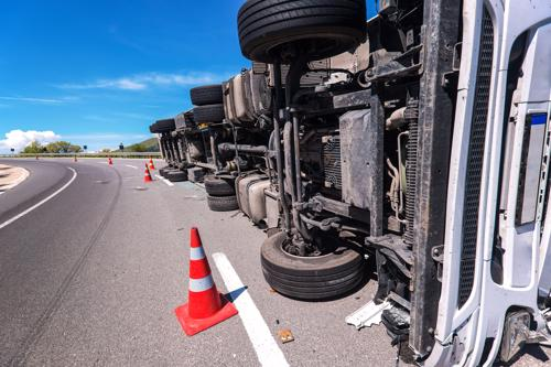 overturned truck truck accident injuries concept